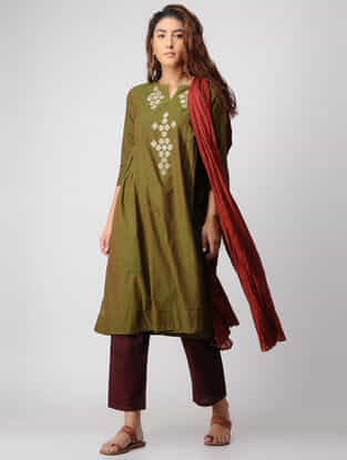 Green-Ivory Embroidered Cotton Kurta by Jaypore