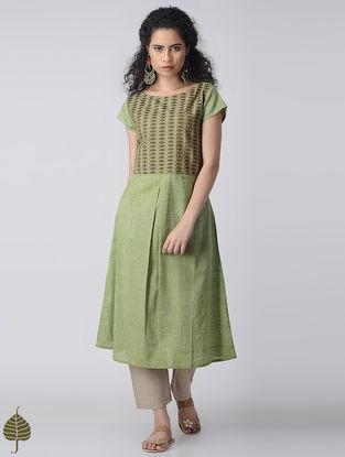 Green Embroidered Cotton Kurta by Jaypore