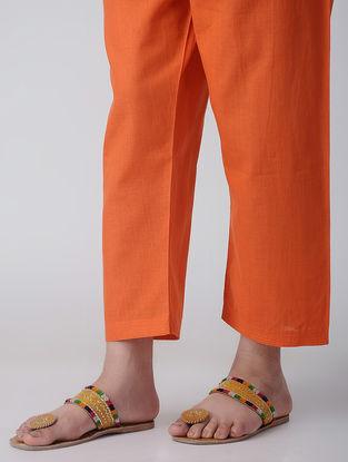 Orange Tie-up Waist Cotton Pants by Jaypore