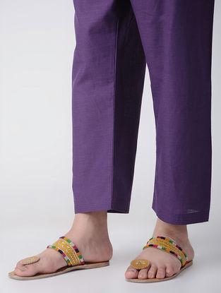 Purple Tie-up Waist Cotton Pants by Jaypore