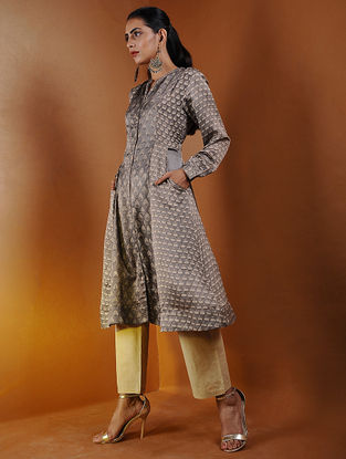 Beige Button-down Ajrakh Gajji Silk Kurta with Pockets by Jaypore