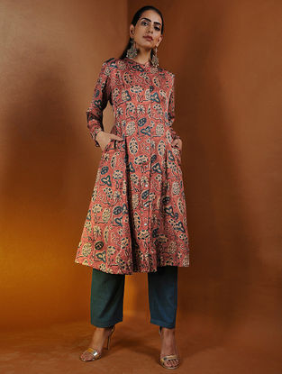 Rust-Indigo Button-down Ajrakh Gajji Silk Kurta with Pockets by Jaypore