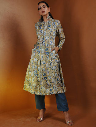 Beige-Indigo Button-down Ajrakh Gajji Silk Kurta with Pockets by Jaypore