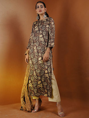 Brown Ajrakh Gajji Silk Kurta with Tassels by Jaypore