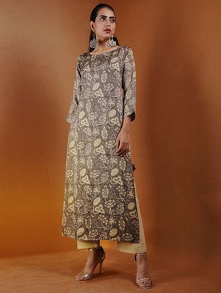 Beige Ajrakh Gajji Silk Kurta with Tassels by Jaypore