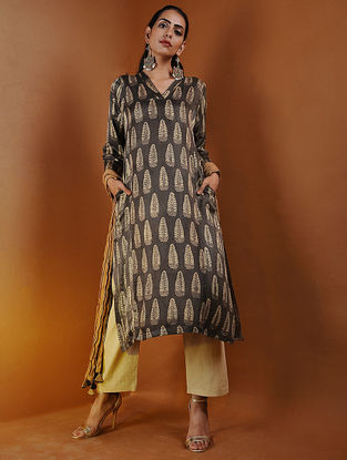 Brown Ajrakh Gajji Silk Kurta with Pockets by Jaypore