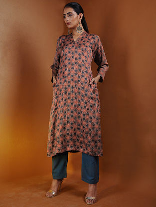 Rust-Indigo Ajrakh Gajji Silk Kurta with Pockets by Jaypore