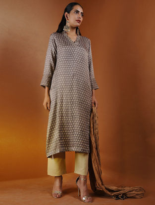 Beige Ajrakh Gajji Silk Kurta with Pockets by Jaypore