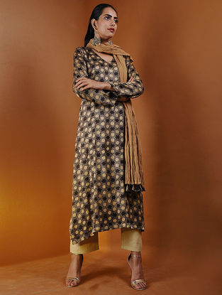 Brown Pintuck Ajrakh Gajji Silk Kurta by Jaypore