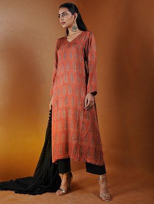 Rust Pintuck Ajrakh Gajji Silk Kurta by Jaypore
