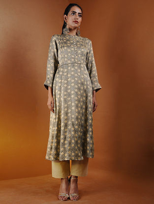 Beige Pleated Ajrakh Gajji Silk Kurta by Jaypore
