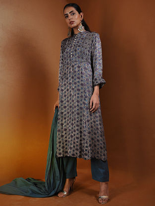 Purple-Indigo Pleated Ajrakh Gajji Silk Kurta by Jaypore