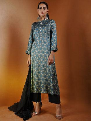 Indigo-Beige Pleated Ajrakh Gajji Silk Kurta by Jaypore