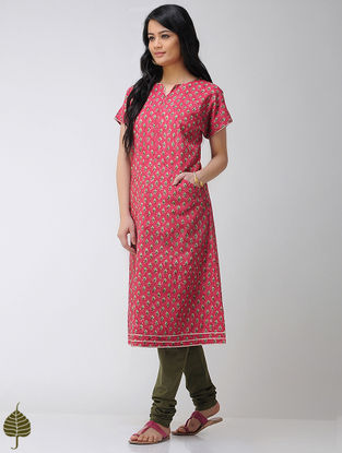 Red-Green Block-printed Cotton Kurta with Gota trim by Jaypore