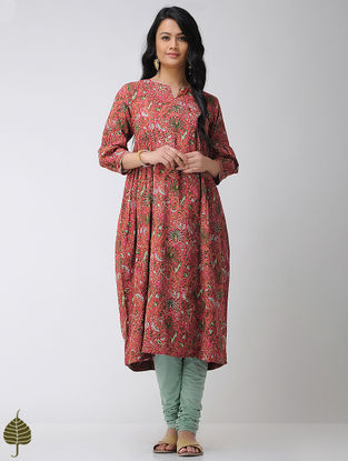 Red Block-printed Cotton Kurta with Gota trim by Jaypore