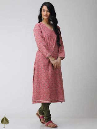 Pink-Green Block-printed Pintuck Cotton Kurta with Gota trim by Jaypore