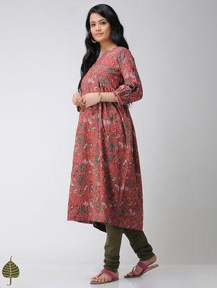 Pink-Green Block-printed Cotton Kurta with Gota trim by Jaypore