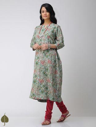 Sea-Green Block-printed Cotton Kurta with Gota trim by Jaypore