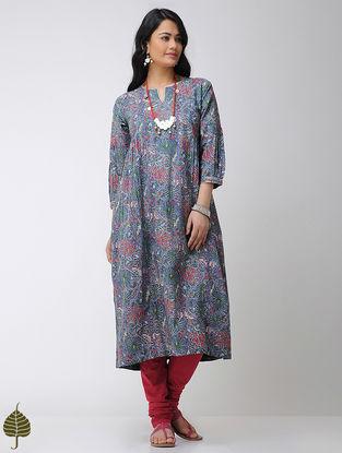 Blue-Pink Block-printed Cotton Kurta with Gota trim by Jaypore