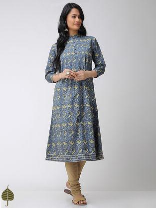 Blue-Green Block-printed Mandarin Collar Cotton Kurta with Gota trim by Jaypore