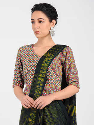 Red-Green Block-printed Cotton Blouse