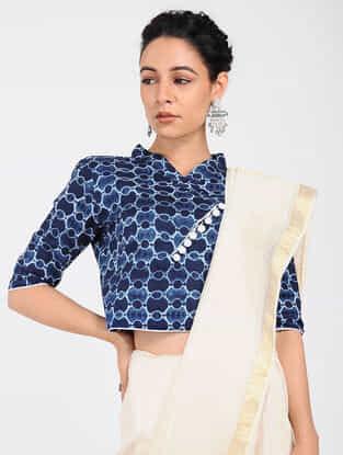 Blue Block-printed Cotton Blouse