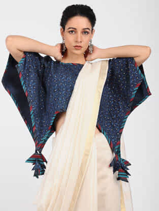 Blue Block-printed Cotton Blouse with Khari-print