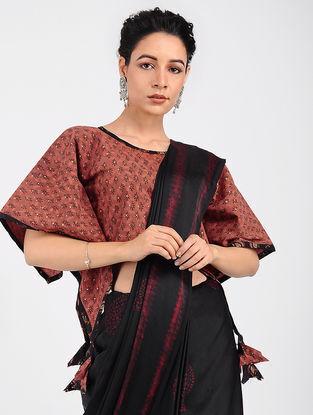 Red-Black Block-printed Cotton Blouse with Khari-print