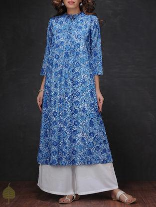 Blue Block-printed Pleated Cotton Kurta by Jaypore