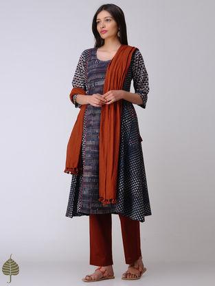 Indigo-Madder Dabu Cotton Kurta by Jaypore