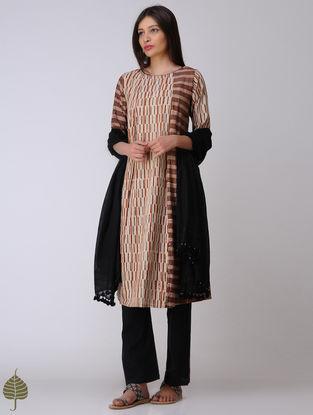 Ivory-Madder Dabu Cotton Kurta by Jaypore