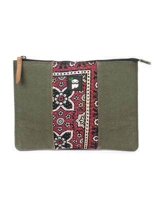 Olive-Maroon Kantha Embroidered Canvas Tablet Case