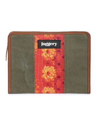 Olive-Orange Kantha Embroidered Canvas Organizer