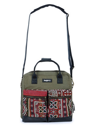 Olive-Multicolor Kantha Embroidered Canvas Laptop Bag