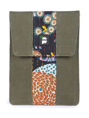 Olive-Multicolor Kantha Embroidered Canvas Tablet Case