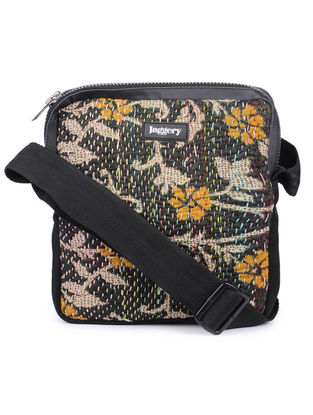 Black-Yellow Kantha Embroidered Cotton Sling Bag