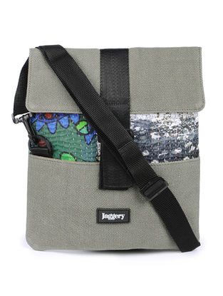 Grey-Multicolor Kantha Embroidered Canvas Sling Bag