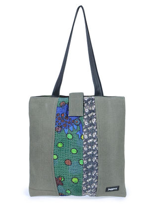 Olive-Multicolor Kantha Embroidered Canvas Tote Bag