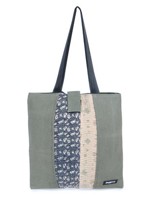 Olive-Blue Kantha Embroidered Canvas Tote Bag