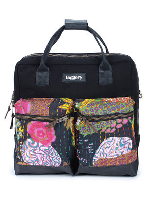 Black-Multicolor Kantha Embroidered Canvas Laptop Bag