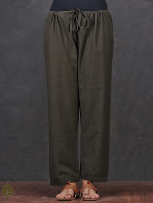 Taupe Tie-up Waist Cotton Pants by Jaypore