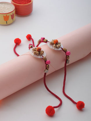 Pink Thread Rakhi with Beads (Set of 2)