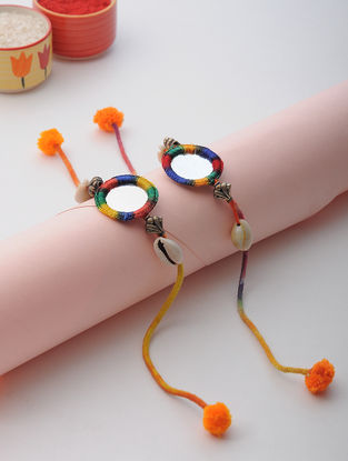 Yellow-Multicolor Thread Rakhi with Sea Shells (Set of 2)