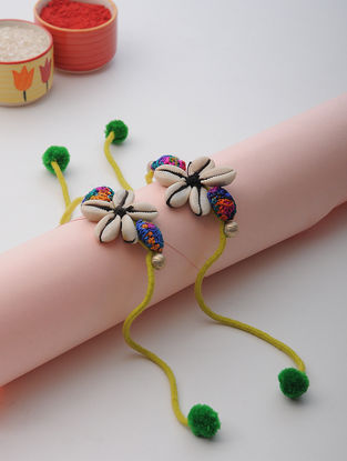 Yellow Thread Rakhi with Sea Shell (Set of 2)