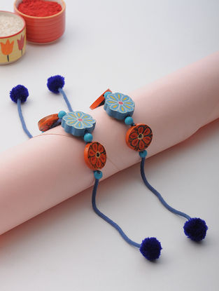 Blue Thread Rakhi with Wood Beads (Set of 2)