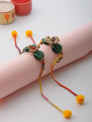 Multicolor Thread Rakhi with Beads (Set of 2)