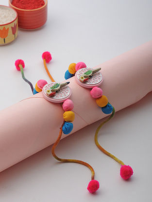Multicolored Thread Rakhi with Bird Design (Set of 2)