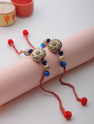Red Thread Rakhi with Beads (Set of 2)