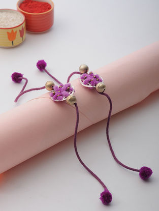 Purple Thread Rakhi with Floral Design (Set of 2)
