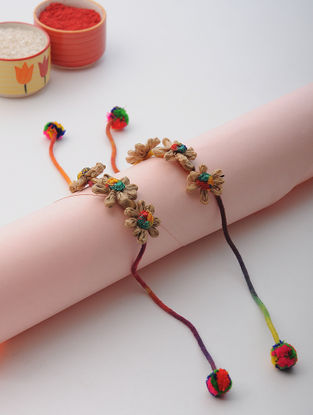 Multicolored Thread Rakhi with Floral Design (Set of 2)